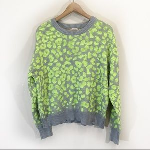 John + Jenn Neon Leopard Knit Sweater Sz Medium